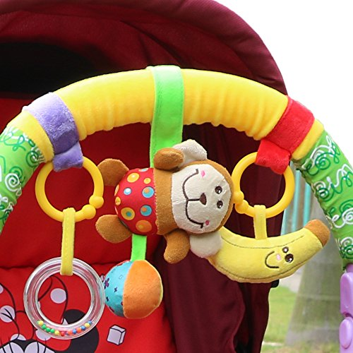 Hoyo Baby Infant Pram Charm Music Toy Bed Stroller Hang Bell Rattles, Animal Monkey Friends,Moon , Rattle, Yellow