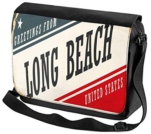 Umhänge Schulter Tasche Retro Metropole Long Beach USA bedruckt