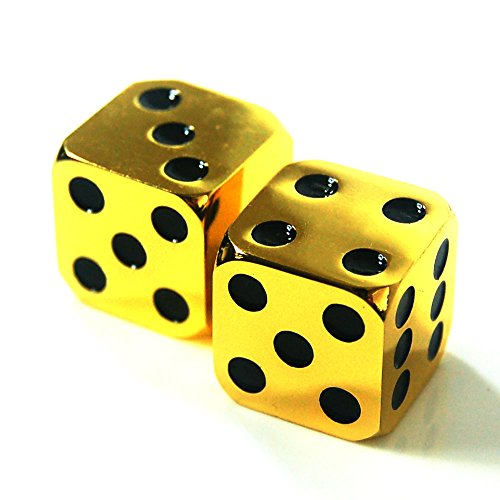 2Pcs D6 16mm Custom Metal Alloy Heavy Dice - Highly Polished Premium Edition (Gold body / Black pips) - Heavy Dice