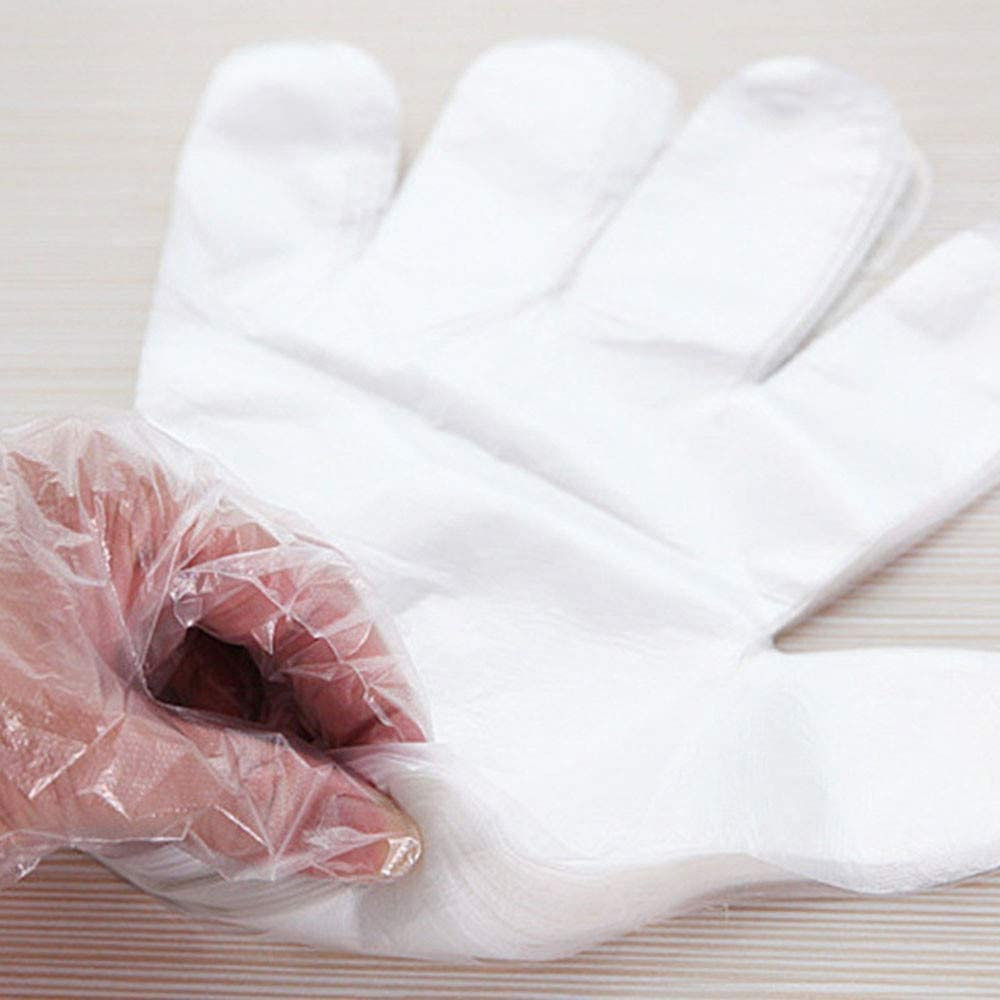 Akiimy 1000 Pcs Disposable Plastic Gloves - Latex Free Powder Free Clear Polyethylene Gloves Non-Sterile for Cleaning/Cooking/Hair Coloring/Dishwashing/Food Handling