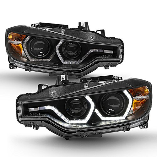 ACANII - For Black [F32 Style] 2012-2015 BMW F30 3-Series Sedan LED DRL Projector Headlights Headlamps Driver+Passenger Bmw 320i Headlight Assembly