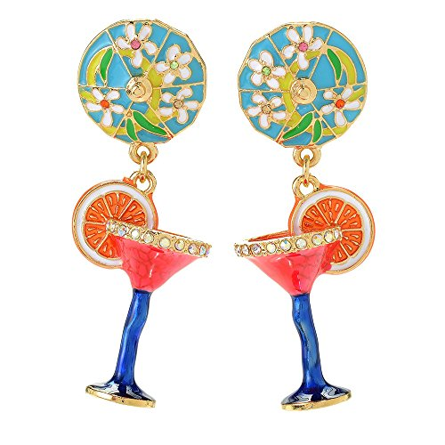 Ritzy Couture Pool Party Red Cosmo Cocktail Glass Earring with Colorful Unique Blue Umbrella (Goldtone) Drop Dangle Earrings Women's Jewelry Gift for Girls Christmas Cocktail Party Dress (Post) (Themes Christmas Post Party)