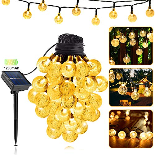 LILCKLIP Solar String Lights, 40ft 100 LED (Φ1.0 inch) Outdoor Globe Bulb String Lights, Waterproof 8 Modes Solar Patio Light for Patio, Garden, Gazebo, Yard, Outdoors, Wedding, Christmas (Warm White)