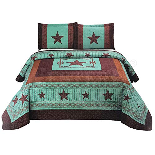 - Western Peak 3 Pc Luxury Western Barb Wire Texas Lone Star Cabin Lodge Barbed Wire Luxury Quilt Bedspread Oversize Comforter (Queen, Turquoise)