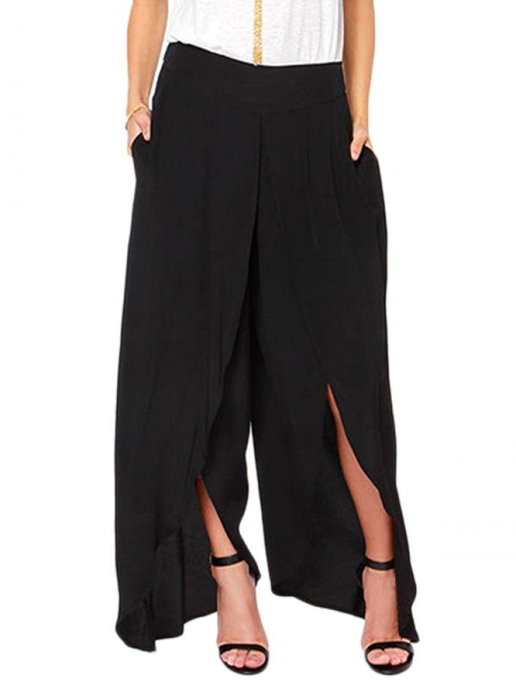 Lingswallow Women's Black Casual Side Split Wide Leg Long Palazzo Skirt Pants