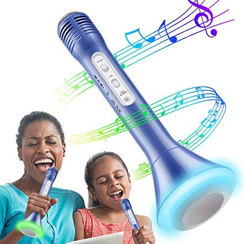 Micrófono Inalámbrico Portátil Bluetooth Altavoz Incorporado para Batería de Compatible con PC & iPad & Smartphone Android & iPhone , Reproductor De Música Máquina Mic Altavoces Incorporados