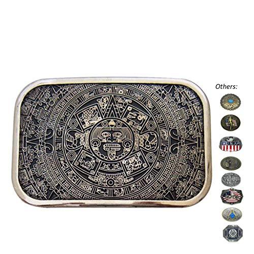 Western Retro Antique Belt Buckles Aztec Calendar Native Country Buckles for Belts Women Mens ()