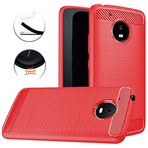 Dretal Moto E4 Plus Case, Carbon Fiber Shock Resistant Brushed Texture Soft TPU Phone case Anti-Fingerprint Flexible Full-Body Protective Cover for Motorola Moto E4 Plus USA Version (Red)