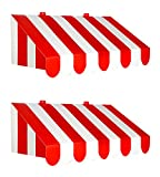 Beistle 54934, 2 Piece 3-D Awning Wall Decorations, 24.75'' x 8.75'' (Red/White)