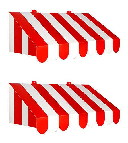 "Beistle 54934, 2 Piece 3-D Awning Wall Decorations, 24.75"" x 8.75"" (Red/White) from Beistle"