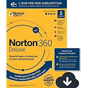 Norton 360 Deluxe – Antivirus software for 5 Devices with Auto Renewal – Includes VPN, PC Cloud Backup & Dark Web Monitoring powered by LifeLock – 2020 Ready [Download]