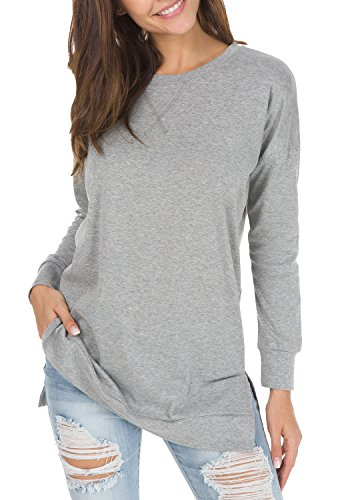 levaca Womens Round Neck Solid Side Split Loose Casual Plus Sweatshirt Gray XL
