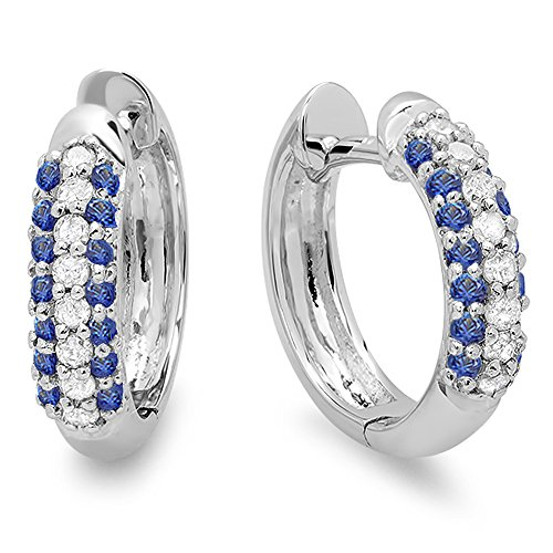 14K White Gold Round Blue Sapphire & White Diamond Ladies Pave Set Huggies Hoop Earrings