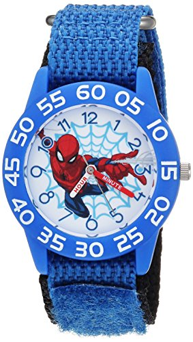 Marvel Boy's 'Spider-Man' Quartz Plastic and Nylon Casual Watch, Color:Blue (Model: WMA000180)