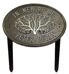 2línea personalizada–gran árbol de roble Memorial jardín placa