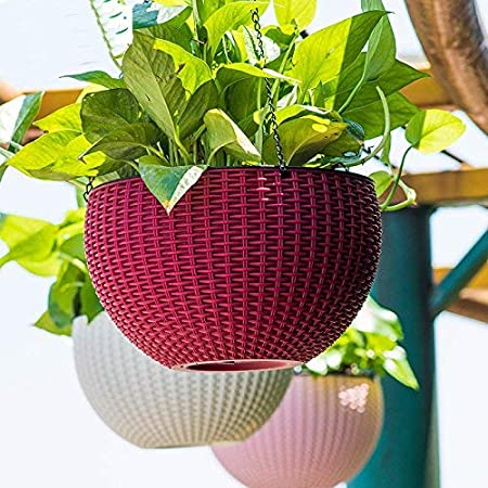Oshi Greens Decorative Home, Garden, Office Fower Pot with Hanging Chain Red 1 pc
