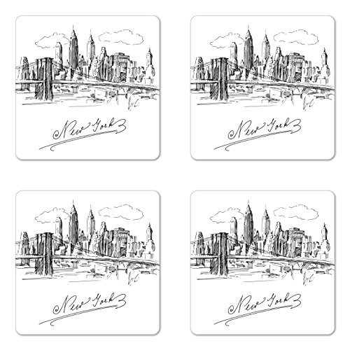 Lunarable NYC Coaster Set of 4, New York City Contemporary Business Metropolis Corporate Town Monochromic Sketch, Square Hardboard Gloss Coasters, Standard Size, Black and White