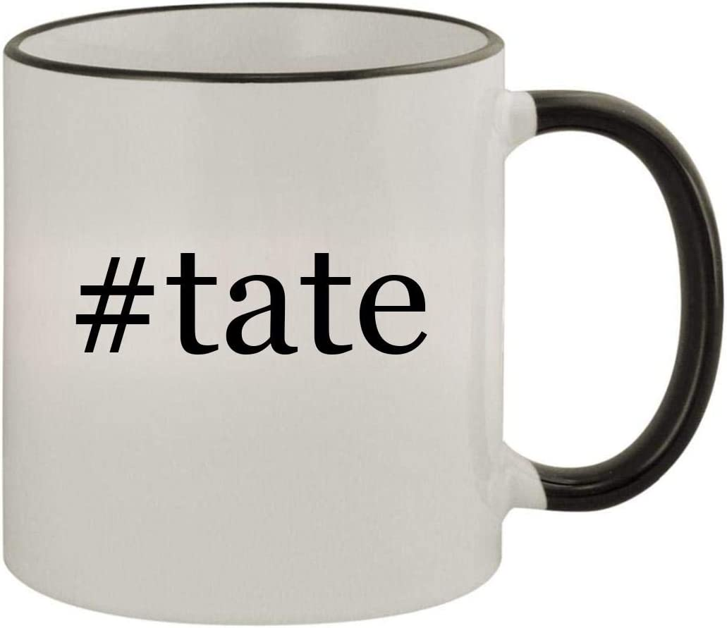 #Tate - 11Oz Ceramic Colored Rim & Handle Coffee Mug, Black