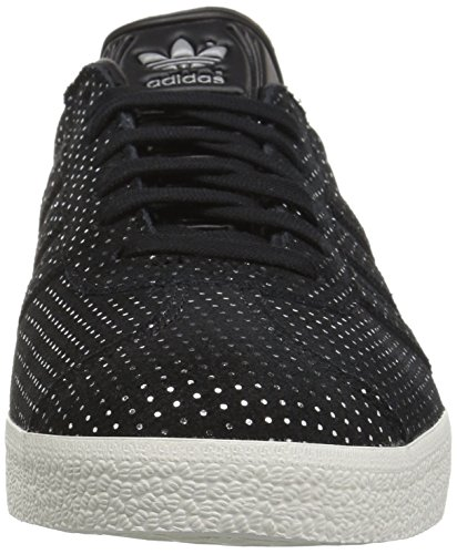 Adidas Originals Women's Gazelle W Sneaker, Black/Black/Silver Metallic, 9 M US