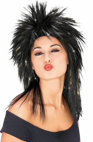 Spiky Wig (Rubie's Costume Spiky Superstar Wig with Tinsel, Black/Gold, One Size)