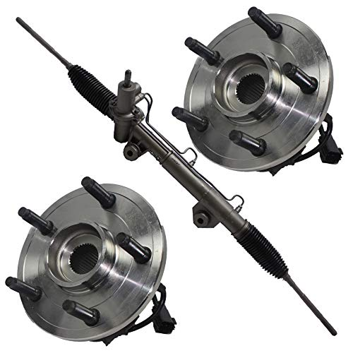 Detroit Axle - Power Steering Rack and Pinion + 2 Wheel Hub Bearing Assembly for 2002 2003 2004 2005 Dodge Ram 1500 ABS 4x4 (2004 Dodge Ram 1500 Rack And Pinion Replacement)
