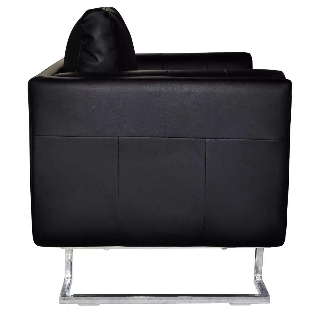 vidaXL Sillón Cuadrado Lujoso de Cuero Artificial con Patas Cromadas Negro