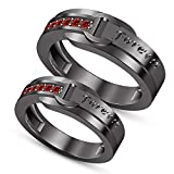 TVS-JEWELS Fashion Couple Ring Her King Or His Queen Wedding Ring For Women's & Men Special (red garnet)