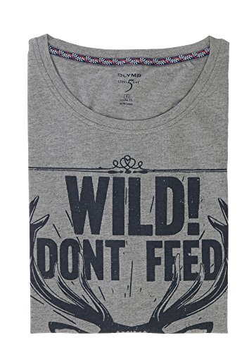 OLYMP T-Shirt Level Five body fit Rundhals mit Frontprint grau