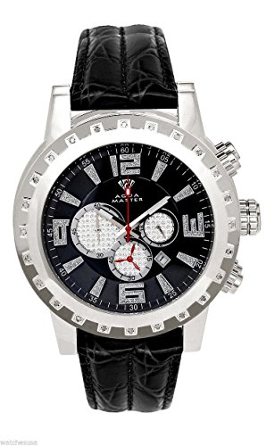 lver-tone Case Diamond Bezel White Leather Band Chronograph Watch W138 ()