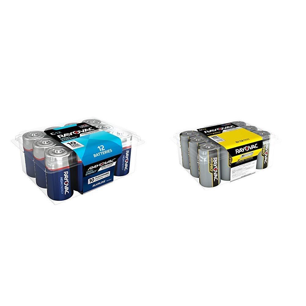 Rayovac C Batteries, Alkaline C Cell Batteries (12 Battery Count) & D Batteries, Ultra Pro Alkaline D Cell Batteries (12 Battery Count)