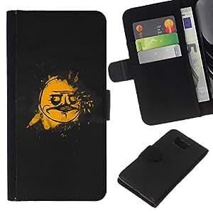Planetar® Modelo colorido cuero carpeta tirón caso cubierta piel Holster Funda protección Para Samsung ALPHA / SM-G850 / S801 ( Cool Funny Face Meme Black Gold )