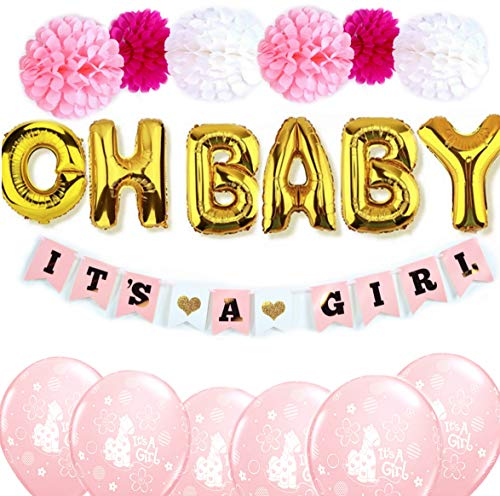 Baby Shower decorations for Girl Pink and Gold decor/Girl shower decorations/Its a Girl banner/OH BABY balloons Its A Girl banner/latex balloons, pompoms