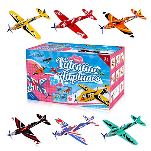 Unomor Valentines Day Cards for Kids 36 Pack Foam Airplanes and 36 Pack Valentines Cards with 6 Different Designs for Kids Classroom Exchange Party Favors(8'' x 7.5'')