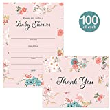 Baby Shower Invitations ( 100 ) & Matching Thank You Cards ( 100 ) Set with Envelopes Large Party Mom-to-Be Girl Daughter Female Gender Baby Fill-in Invites & Folded Thank You Notes Best Value Pair