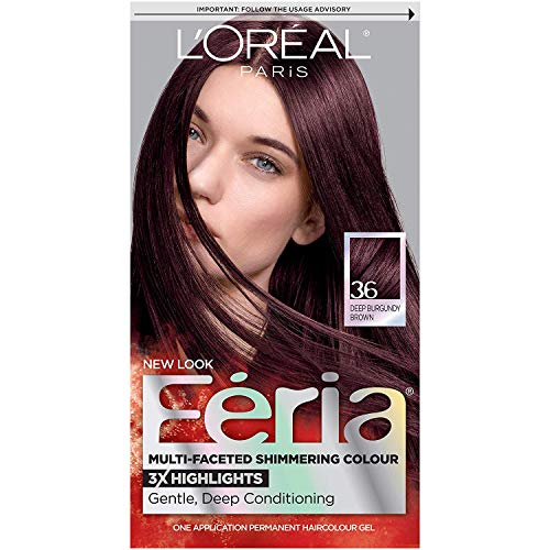 L'Oreal Feria Multi-Faceted Shimmering Colour, Warmer, 36 Deep Burgundy Brown, 1 ea (Pack of 3)