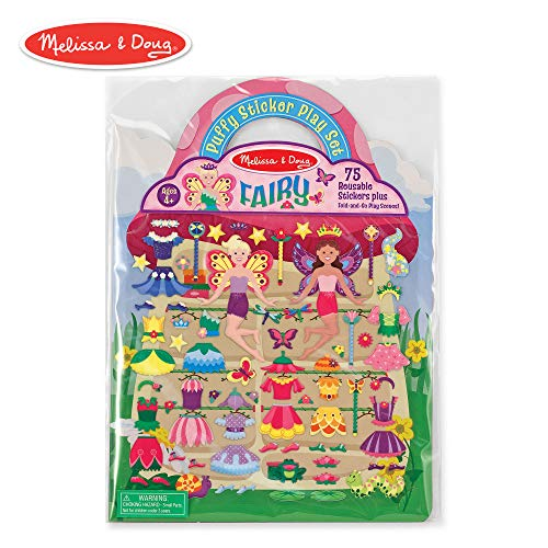 Melissa & Doug Puffy Sticker Play Set, Fairy (Reusable Activity Book, 75 Stickers, Great for Travel)