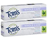 Beauty : Tom's of Maine Whole Care Fluoride Toothpaste Spearmint, 4.7 Ounce, 2 Count