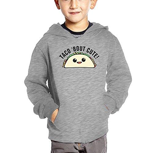 Joapron Taco Bout Cute Kids Long Sleeve Pocket Pullover Hooded Sweatshirt Ash Size 5-6 Toddler