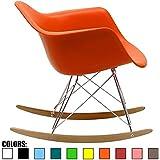 2xhome Orange - Eames Style Molded Modern Plastic Armchair Rocker Chrome Steel Eiffel Base Wood Rockers - Rocking Style Lounge Cradle Arm Chair - Nursery Living Room - Matte Finish