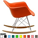 2xhome Orange - Eames Style Molded Modern Plastic Armchair Rocker Chrome Steel Eiffel Base Wood Rockers - Rocking Style Lounge Cradle Arm Chair - Nursery Living Room - Matte Finish