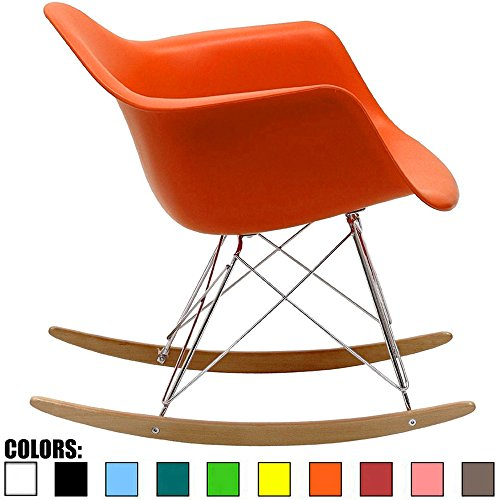 Plastic Patio Arm Chair - 2xhome Orange Mid Century Modern Molded Shell Designer Plastic Rocking Chair Chairs Armchair Arm Chair Patio Lounge Garden Nursery Living Room Rocker Replica Decor Furniture DSW Chrome