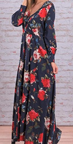 Chiffon Long Size Strappy Collar Sleeve Women Plus Blue Royal Notch Printed Dress Maxi Coolred Long x4qw1TRfq