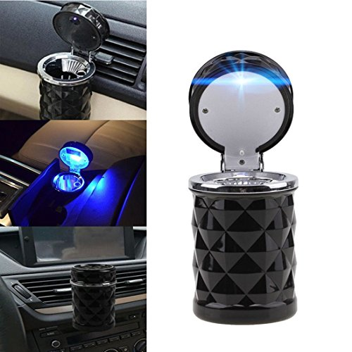 Geekercity Car Cigarette Ashtray Portable Auto Smokeless Tobacco Tray with Car Travel LED Blue Light Cool Diamond Cut Face Air Vent Cup Holder (Black)