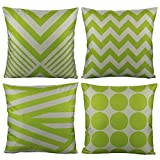 lime green couch All Smiles Outdoor Green Decorative Throw Pillow Covers Cases Cushion Home Decor Accent Square 18 x 18 Set of 4 for Patio Couch Sofa,Lime Green Geometric