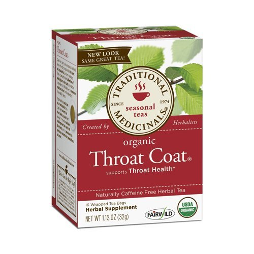 2 Packs of Traditional Medicinals Organic Throat Coat Herbal Tea - Caffeine Free - 16 Bags by Traditional Medicinals