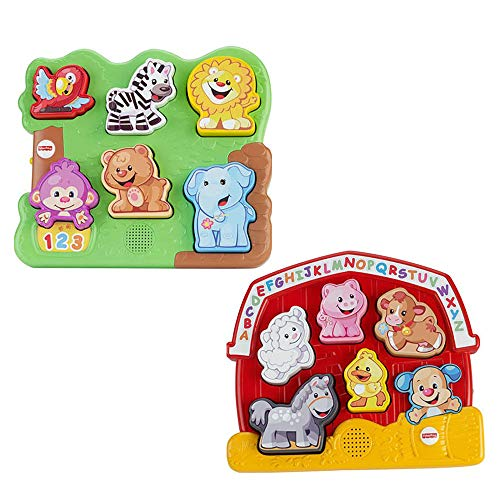 Fisher-Price Laugh & Learn Farm & Zoo Animal Electronic Puzzles. Bundle of 2. ()