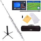 Mendini Closed-Hole Key of C Flute, Nickel Plated and Tuner, Case, Stand, Pocketbook- MFE-N+SD+PB+92D