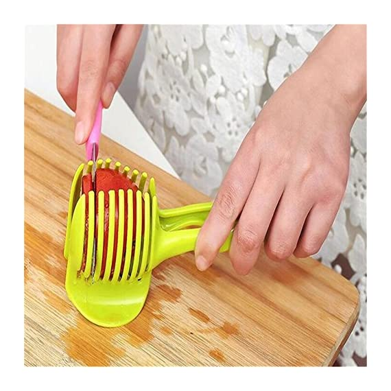 Best Utensils Tomato Slicer Lemon Cutter Multipurpose Handheld Round Fruit Tongs ABS Plastic Onion Holder Easy Slicing Fruits & Vegetable Tools Kitchen Cutting Aid Gadgets Tool 4 MADE IN CHINA: Unique design makes slicing fruits and vegetables more quickly and easily MULTI-PURPOSE: Conveniently designed slicing aid, perfect tool for any task in the kitchen, ideal for tomatoes, onions, lemon, citrus fruit & more! DURABLE & SAFETY: Made of 100% food grade Material, eco-friendly, durable in use. Clamp design, multifunctional, also couble be used as food tongs.