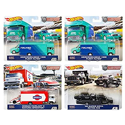 Hot Wheels 2020 Car Culture Team Transport Case D 4 Car Set, Retro Rig, Sakura Sprinter, Fleet Flyer 1/64 Scale Diecast Vehicles 1/64 Scale Diecast Vehicles: Toys & Games