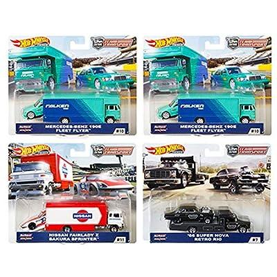 Hot Wheels 2020 Car Culture Team Transport Case D 4 Car Set, Retro Rig, Sakura Sprinter, Fleet Flyer 1/64 Scale Diecast Vehicles 1/64 Scale Diecast Vehicles: Toys & Games